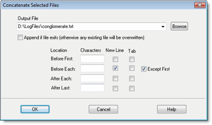 Sample Dialog for Concatenating Files