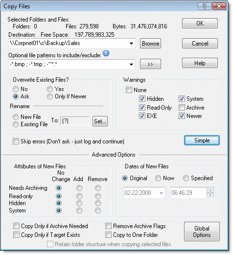 Copy Files - Move Files Dialog in Advanced Mode