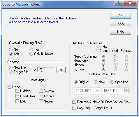 Dialog for copying files to multiple directories