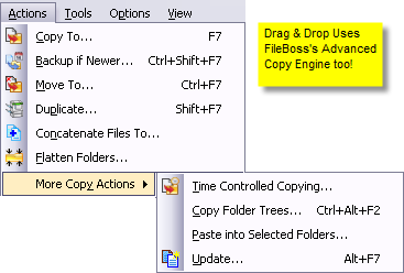 Action menu showing all the copy commands