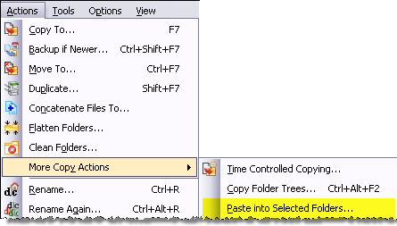 Menu item for pasting into multiple folders