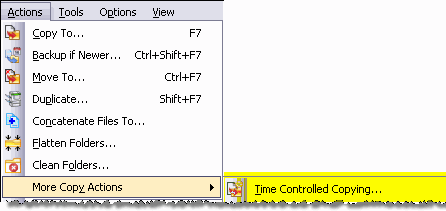 Menu item for Time Controlled Copying