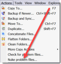 Nuke problem files menu item